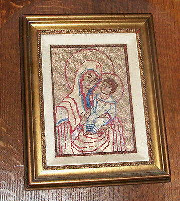 Vtg Folk Art Gold Silk Embroidery Scapular Blessed Mother Mary Madonna Picture