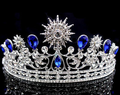 Hot Royal Blue Rhinestones Wedding Bridal Crown Queen Headdress Crystal Tiaras