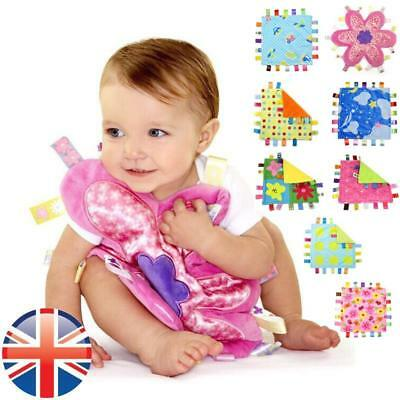 *UK Seller* Baby Girls Boys Soft Taggy Gift Colorful Security Blanket Comforter