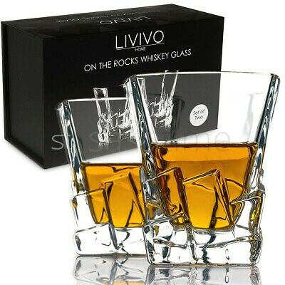 LIVIVO 2 x ICEBERG WHISKEY GLASSES GLASS SET WHISKY TUMBLERS IN BLACK GIFT BOX