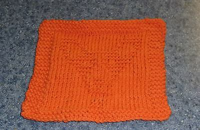 Brand New Hand Knit Corgi Dog Orange Cotton Dish Cloth For Dog Rescue Charity
