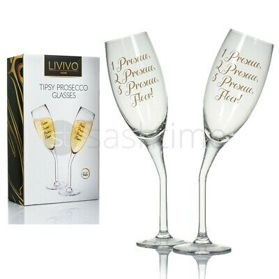 2 Set Tipsy Champagne Glass Flute Prosecco Wedding Anniversary Gift Glasses
