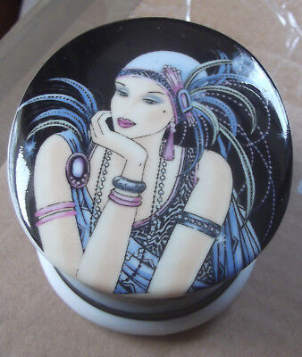 Pretty, Art Deco Style Oval Ceramic Trinket/jewellery Pot -Art Deco Female Image