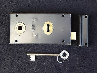 Vintage Reclaimed Union Rim Lock Door Latch Keep & Key