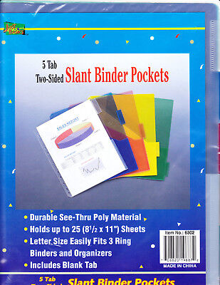 Poly Slant Binder Pockets Two Sided 11 x 8.5  inches 5 Tab