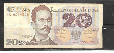 POLAND #149a 1982 VG CIRCulated 20 ZLOTYCH OLD BANKNOTE PAPER MONEY BILL NOTE
