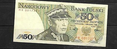 Poland #142C Very Fine Circulated 1988 50 Zlotych Old Banknote Note Paper Money