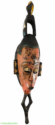 Guro Mask Pink Face Animals Ivory Coast African Art