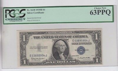 Silver Certificate $1 1935-H  PCGS Graded Choice new 63PPQ