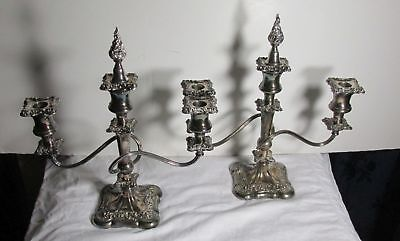 1900s' ORNATE INTERNATIONAL SILVER CO SILVERPLATE CANDLE HOLDERS CANDELABRAS