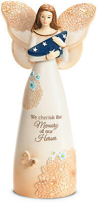 Pavilion Gift Cherish Memory of Heroes Angel with American Flag Figurine 19127