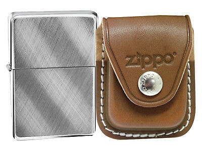 Zippo 28182 Brushed Chrome Lighter + LPCB Brown Leather Pouch Clip
