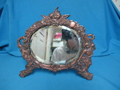 Antique Metal Framed Mirror Stands on Table Figural Cherubs
