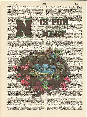 N is for Nest Eggs Alphabet Altered Art Print Upcycled Vintage Dictionary Page