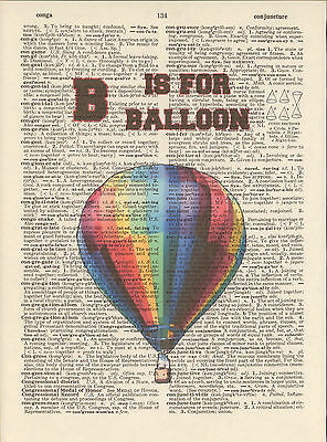 B is for Balloon Hot Alphabet Altered Art Print Upcycled Vintage Dictionary Page