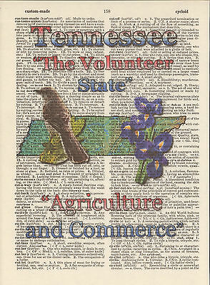 Tennessee State Map Symbols Altered Art Print Upcycled Vintage Dictionary Page