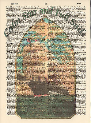 Calm Seas Full Sails Ship Altered Art Print Upcycled Vintage Dictionary Page