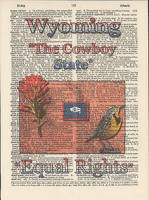 Wyoming State Map Symbols Altered Art Print Upcycled Vintage Dictionary Page