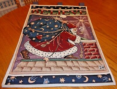 "Mary Engelbreit BELIEVE Christmas Wall Hanging Tapestry SANTA Large 26"" x 36"""