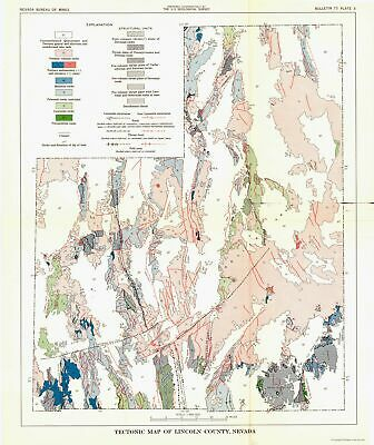 Mining Map - Lincoln County Nevada Tectonic - NV Mines  1998 - 23 x 27.36