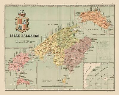 Map Of Spain Old.Old Spain Map Islas Baleares Martin 1911 28 62 X 23