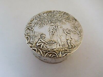 Superb & Stunning Antique French Solid Silver Cherub Snuff Box