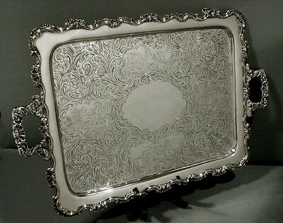 "Wood & Hughes Silver Tray  c1860   "" CASTLE ""    WAS. $6500   NO RESERVE"
