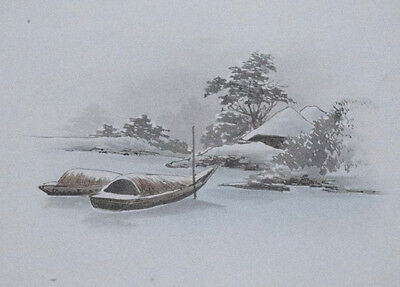 BOATS MOORED IN SNOW V : Original Vintage Japanese Postcard Sized Brush Painting
