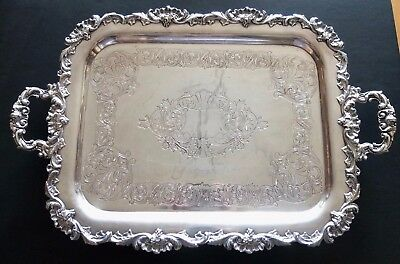 Large English Silver Plated Footed Tray Or Platter With Handles And Hallmarks