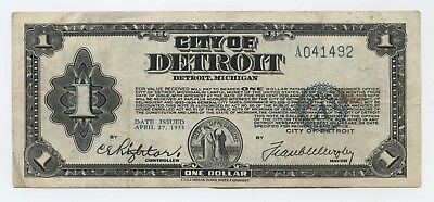 City of Detroit, Michigan $1 One Dollar  Date Issued April 27, 1933  # A041492
