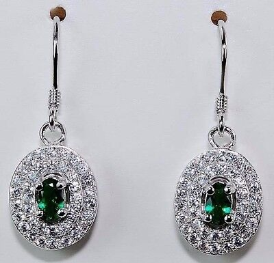2CT Emerald Quartz & White Topaz 925 Solid Sterling Silver Earrings Jewelry,T1-4