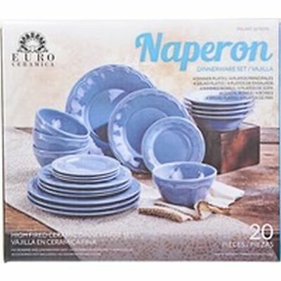 Euro Ceramica Naperon 20 Piece Dinnerware Set Blue High Fired Ceramic  sc 1 st  PicClick & EURO CERAMICA Naperon 20 Piece Dinnerware Set Blue High Fired ...