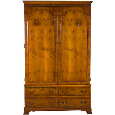 Vintage Antique Style Yew Wood Armoire Wardrobe Closet Arches on Doors Bedroom