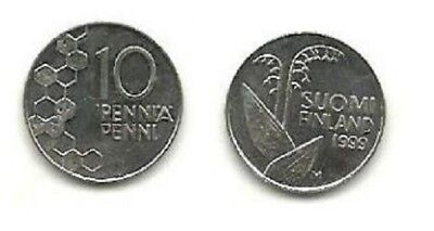 FINLAND 10 Pennia Cu-Ni coin 1999 XF w/ LILY-OF-THE-VALLEY KM #65