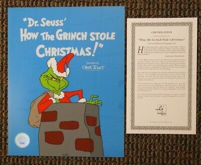 S/O How the Grinch Stole Christmas Limited Sericel Cel Title Card Dr Seuss