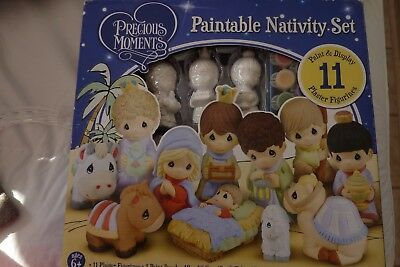 Precious Moments Plaster Nativity Paint & Display 11 Piece Set Paintable NEW