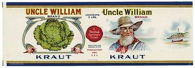 UNCLE WILLIAM Brand, Iowa *AN ORIGINAL 1920's TIN CAN LABEL* Calvert Litho