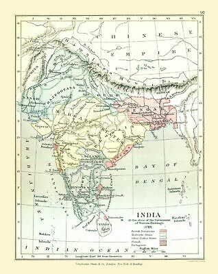 Old Asia Map - India in 1785 - Gardiner  1902 - 23 x 28.97