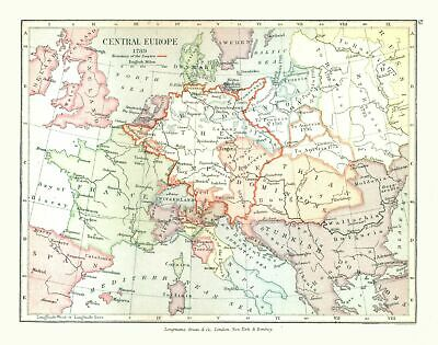 Old Europe Map - Central Europe in 1789 - Gardiner  1902 - 29.20 x 23