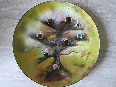 Mid Century Modern Canadian Artist Claudette Rinfret Enameled Copper Charger