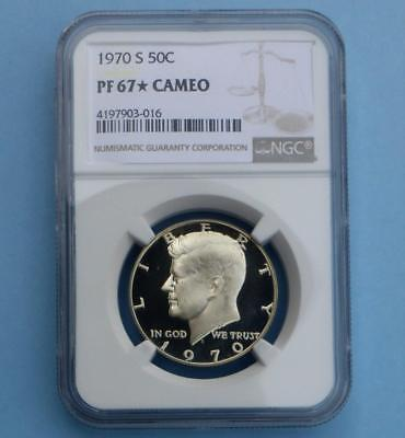 1970 S NGC Proof 67 Star & Cameo Kennedy Half Dollar, Extra Frosty Obv. Gem Coin