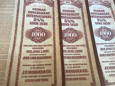 3 Lot 1930 German Government International 5 1/2% Loan UNCANCELLED Consecutive