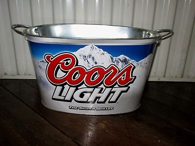 Coors Light Beer-The Silver Bullet-Oblong Metal Ice Bucket Cooler