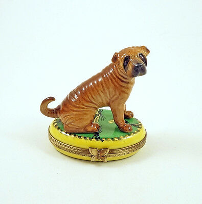 New French Limoges Trinket Box Cute Shar Pei Dog Puppy On Green Rug With Tassels