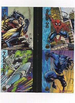 1994 FLEER Marvel Universe V SPIDER-MAN WOLVERINE 4 Card UNCUT PROMO PANEL SHEET