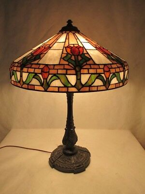 Magnificent & Huge Wilkinson Lamp With Bronze Base Featuring Tulips With Purple