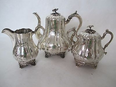 Stunning C. 1880 Coin Silver 3 Piece Repousse With Fruits Stebbins & Co  Tea Set