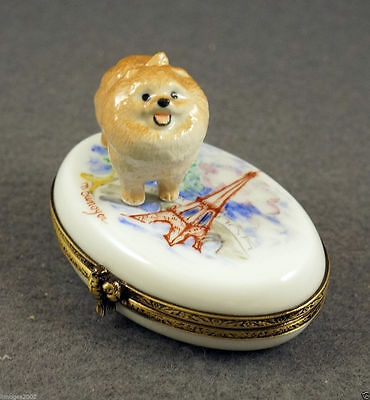 New French Limoges Trinket Box Pomeranian Dog Puppy In Paris At Eiffel Tower