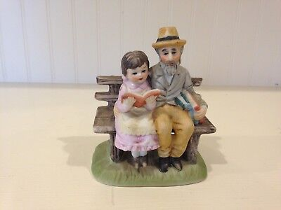 Lefton China 5989 Figurine Little Girl reading on Bench with Man