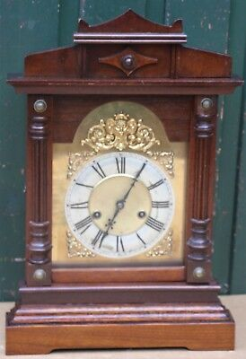 Wonderful Old Wooden Cased H.a.c Mantle Clock With Fancy Brass Dial